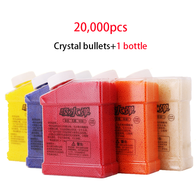 1 Bottle and 20000pcs Color Crystal Bullet Paintball Gun Pisol Crystal Water Bullet Mud Soil Water Toy Guns Orbeez Toys For Kids