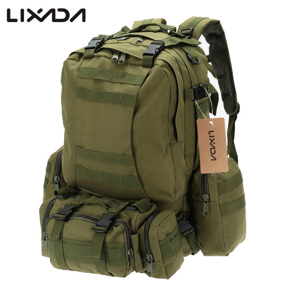 Lixada 50L Camouflage Bag Outdoor Water Resistant Bags Military Molle Tactical Bag Rucksack Backpacks Vintage Hiking