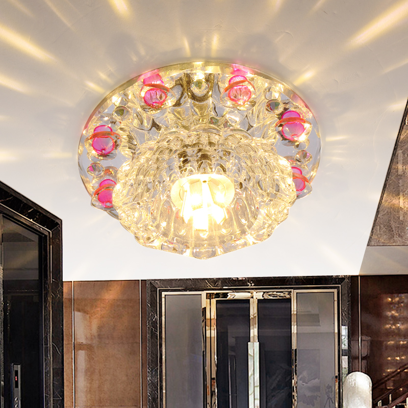 Crystal Lamp Hole2017 Porch K9 Levin Led Spotlights Ceiling 3W Lamp Room Corridor Aisle Lights Blue Pink Coffe Ceiling Lights