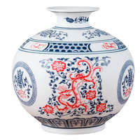 Chinese Style Jingdezhen Classical White And Blue Home Decor Red Porcelain Kaolin Flower Vase Handmade Vases