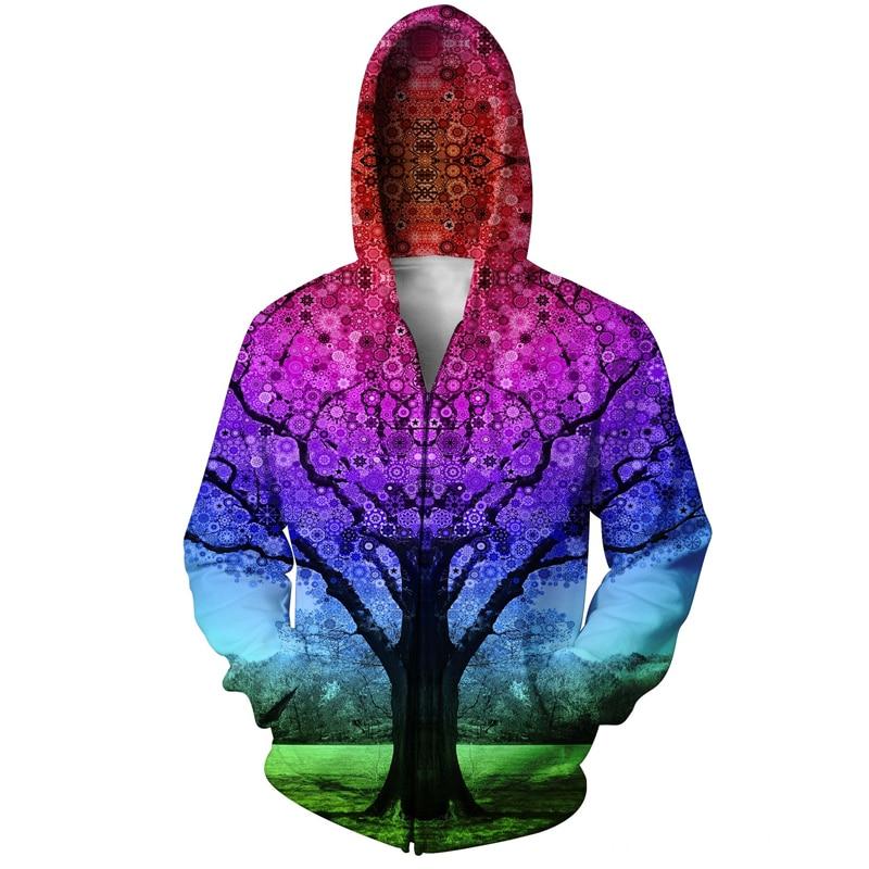 YX FILLE Marque Truo Arbre/Arbre Étoiles Sweat Psychédélique 3D Imprimé Zip Hoodies Femmes Hommes Printemps Automne Pull Veste