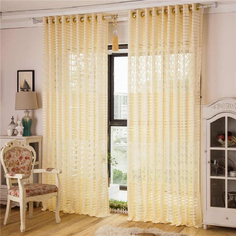 Pastoral Curtain Jacquard Shade Window Sheer Curtain Tulle Panel Hot Sale  Yellow,White Solid Voile  Yellow And White Curtains