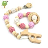 Set Of Pink Baby Toy Pacifier Clip Dummy Holder Natural Color Silk Cord Baby Girl Gift