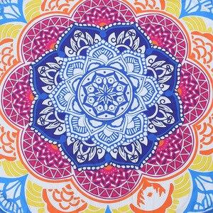 Image 5 - 147*147 CM Runden Strandtuch Tapisserie Quaste Decor Mit Kugeln Rund Tischdecke Yoga Picknick Ankunfts lotus blumen Matte Blau rosa Gelb