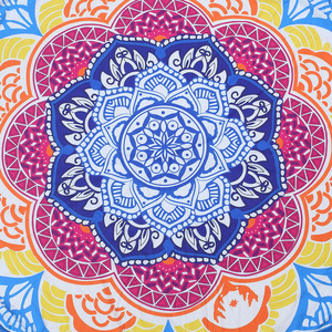 Image 5 - 147*147CM  Round Beach Towel Tapestry Tassel Decor With Balls Circular Tablecloth Yoga Picnic Lotus Floral Mat Blue Pink Yellow