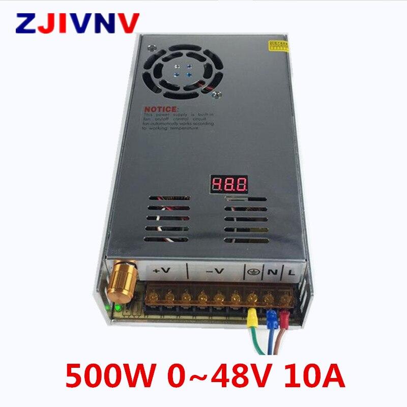 цена на 500W 0~48V 10A switching power supply AC-DC For Electronics Led Strip Display Digital voltage 0-48vdc full range adjustable