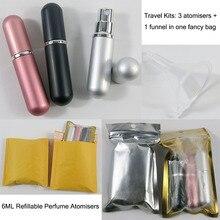 1x3pcs/set  6ml Paint Pink /Sliver /Black Perfume Mist Spray Bottle 6cc Empty Toner Parfum Container with PP White Atomizer