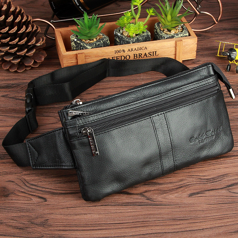 GOLD CORAL Genuine Leather Belt Waist Bags For Men Phone Bag Purse Pocket Male Vintage Fanny Pack Money Pouch Card Keys Holder