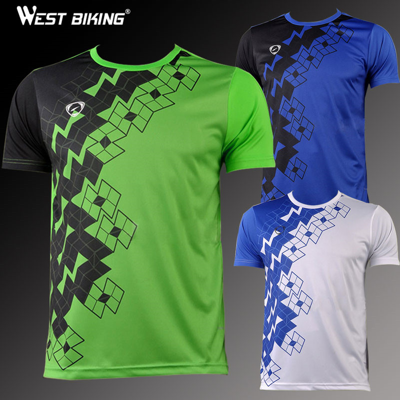 WEST BIKING Men Quick Dry Personalized Leisure Running Training T-shirt Sports Top Short-sleeve Cycling Bike Bicycle Jerseys quick dry fitted round neck short sleeve camo print men s training t shirt