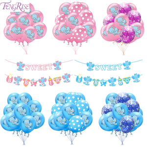 Слон воздушный шар синий розовый детский душ вечерние украшения первый день рождения для мальчиков и девочек вечерние 1 год День Рождения Д...