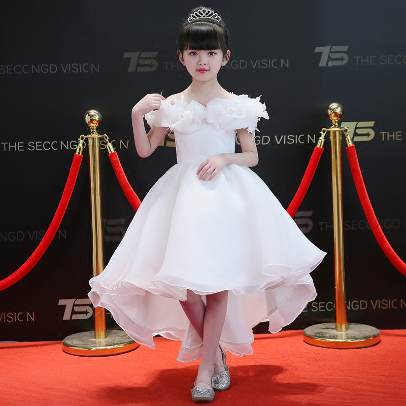 2018Summer New Noble Elegant White Color Kids/Girls Shoulderless Birthday Wedding Party Tail Dress Baby Children Host Tutu Dress 2017 new high quality girls children white color princess dress kids baby birthday wedding party lace dress with bow knot design
