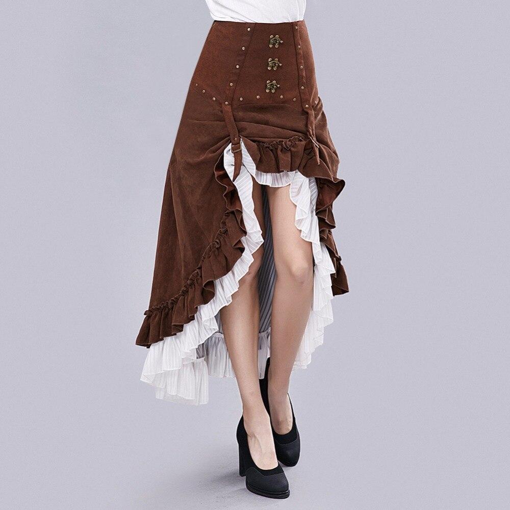 Gear Duke femmes nouveauté Steampunk magnifique mode victorienne à volants longue jupe femmes Vintage taille haute jupe