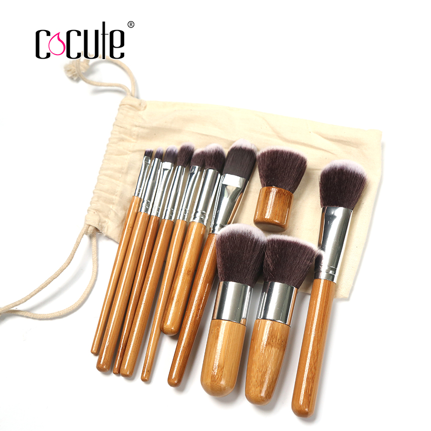 Cocute 11 Pieces Makeup Brush Set Bamboo Foundation Blush Concealer Eye Face Liquid Powder Cream Cosmetics Brushes Kit With Bag facial mask brush woman cosmetic tool makeup foundation brush fiber hair bamboo handle powder concealer face mask brushes set