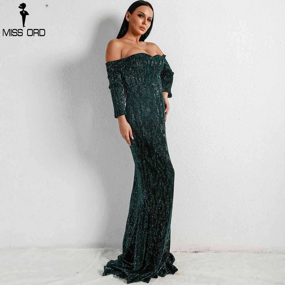 8975fc00bf Missord 2019 Sexy BRA Long Sleeve Off Shoulder Sequin Backless Dresses  Women Skinny Maxi Party Elegant Dress FT8714-1