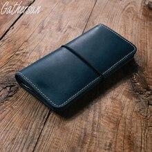 Gathersun Marke Unisex Handmade brieftasche Vintage Designer Hohe Qualität 100% Echtes Rindsleder frauen Lange Kupplung Brieftasche