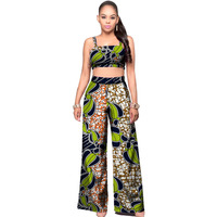 Elegant Women African Print Set Clothing Fashion Tube Top And Flared Trousers Sets Ladies Casual Dashiki