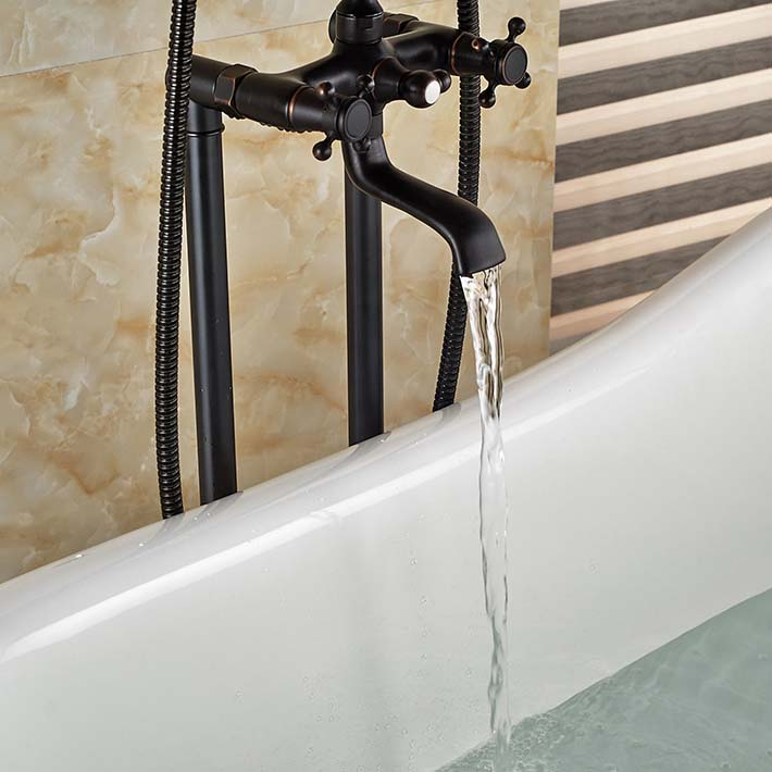 Floor Mounted Bath Tub Faucet Free Standing Bathroom Mixer Tap Oil ...