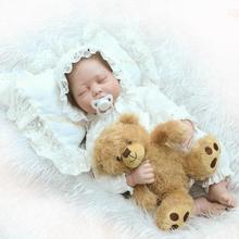 22″ High Quality Silicone adora Lifelike Bonecas Bebe Reborn Realistic Magnetic Pacifier Bebe Sleeping Doll Reborn for Girl Gift