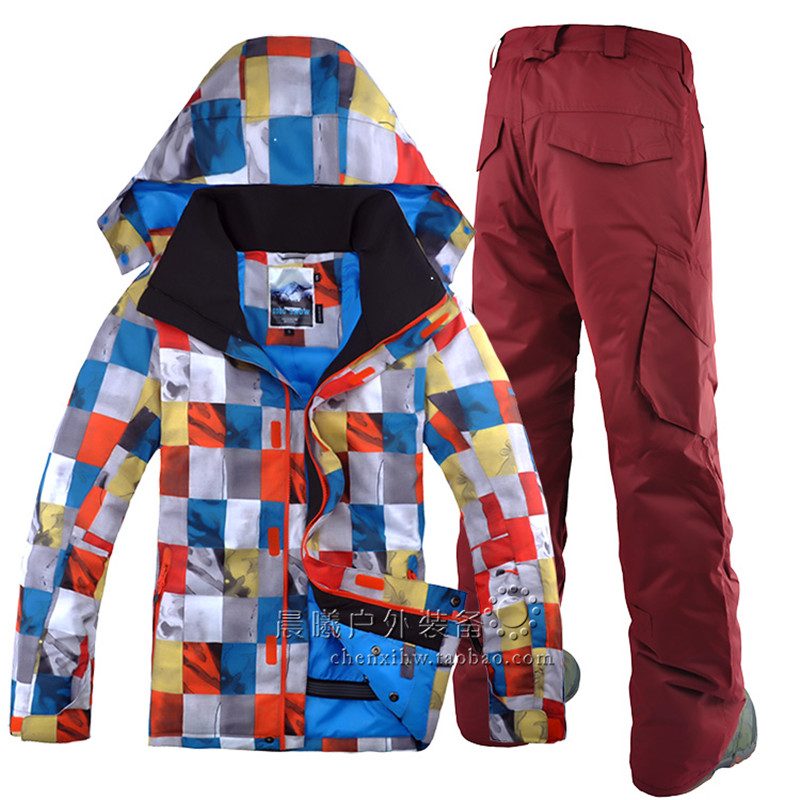 GSOU NEIGE double conseil de ski costume pour homme hiver en plein air nouveaux sports loisirs Plaid imperméable coupe-vent veste de ski + pantalon de ski