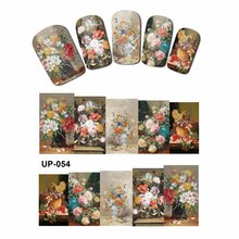 NAIL ART BEAUTY TATTOO WATER TRANSFER DECAL SLIDER OIL PAINTING VINTAGE VASE SUN FLOWER ROSE GOD MOTHER UP049-054(China)