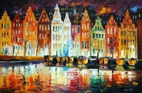 beautiful Painting Home Decor amsterdams panorama Colorful oil paintings Canvas Abstract Modern Fine Art High quality Handmade