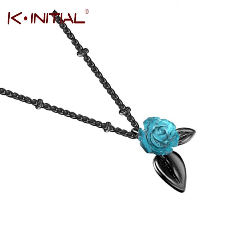 Kinitial новые ретро-подвески в виде синей искусственной кожи с черным листом, длинная цепочка, ювелирные изделия, роза, цветок, чокер, ожерелье, ...
