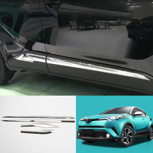 Car Styling 4PCS Stainless Steel Chrome Car Body Molding Strips Cover Decoration Trim For Toyota C-HR CHR 2016 2017 2018 full window trim decoration strips for vw golf 7 2013 2017 stainless steel high quality chrome trim car styling