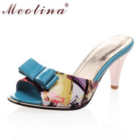 Big Size 40 Sweet Lady S Sandals Summer Peep Toe Slippers Stiletto High Heels Female Bow