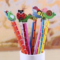 12pcs/Lot Random Cute Cartoon Insect HB Pencil With Eraser Children Creative School Stationery Kawaii Flog Snails Pencils Standard Pencils