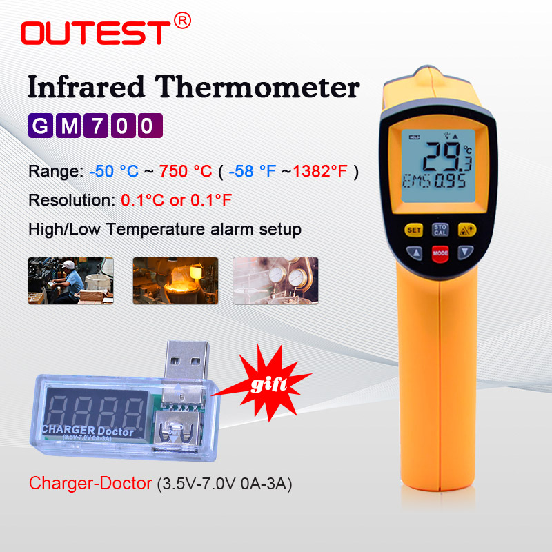 OUTEST Infrared thermometer thermal imager handheld digital electronic car temperature non contact hygrometer 750 C industrial