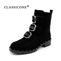 CLASSICONE Shoes Woman Motorcycle Boots Zip Winter Metal Decoration Round Toe Genuine Leather Fashion Free Shipping