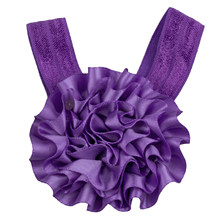 Baby Girl Ribbon Flowers Barefoot Sandals Shoes (Purple)(China)
