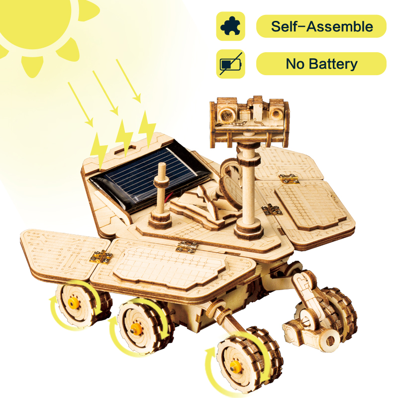 Robotime Moveable Spirit Rover Solar Energy Toy 3D DIY Laser Cutting Wooden Model Building Kit Gift For Children Adult LS503