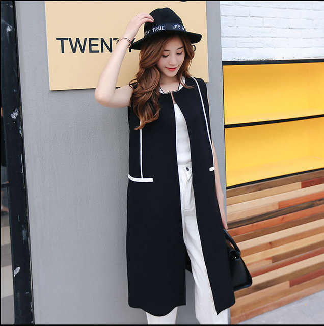 2016 Streetwear Patchwork Long Women Suit Vest Feminine Mandarin Collar Open Stitch Gilet Sleeveless Waistcoat Top femme colete