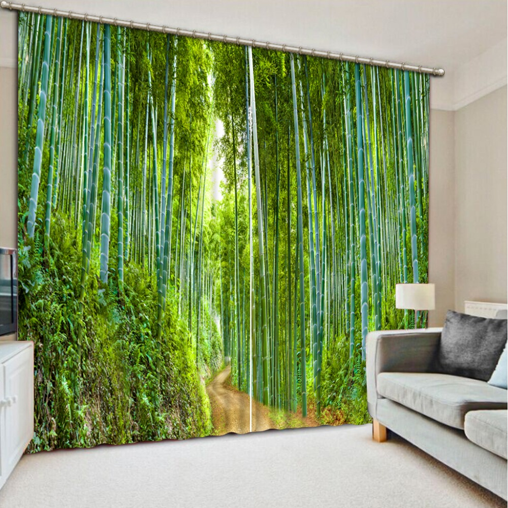 Green Curtains Luxury Blackout 3D Window Curtains For