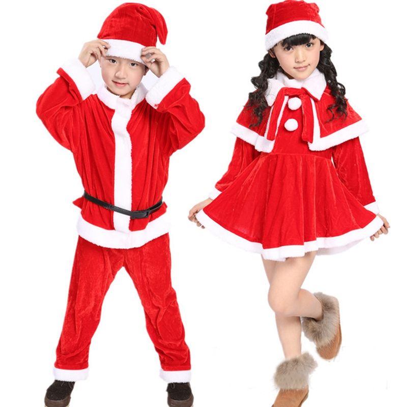 Christmas Baby Girsl Dress Boys New Year Clothing Set Santa Claus Cosplay Costumes Kids Xmas Party Clothes with Hat