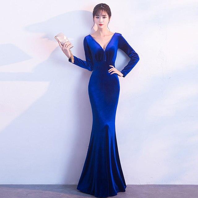 1e5f148754de Blue Flannel Pearl Beaded Sequined V Neck Backless Long Sleeve Clubwear  Sexy Formal Dress Women Elegant