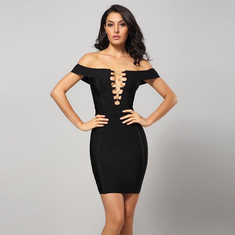 009800f707b Qualité Noir Robe Lacée Mini Cou Célébrité Supérieure Slash L épaule Pour Soirée  Femme Partie De Moulante Hors ...