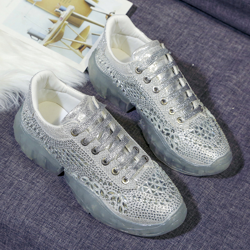 Chaussures Cristal Femmes New Mujer Plates forme blanc Cuir En argent Trendy 2019 Épaisse Adboov Chunky Zapatos Crystal Dames Décontractées Plate Sneakers Pu Semelle Eqw8FXd