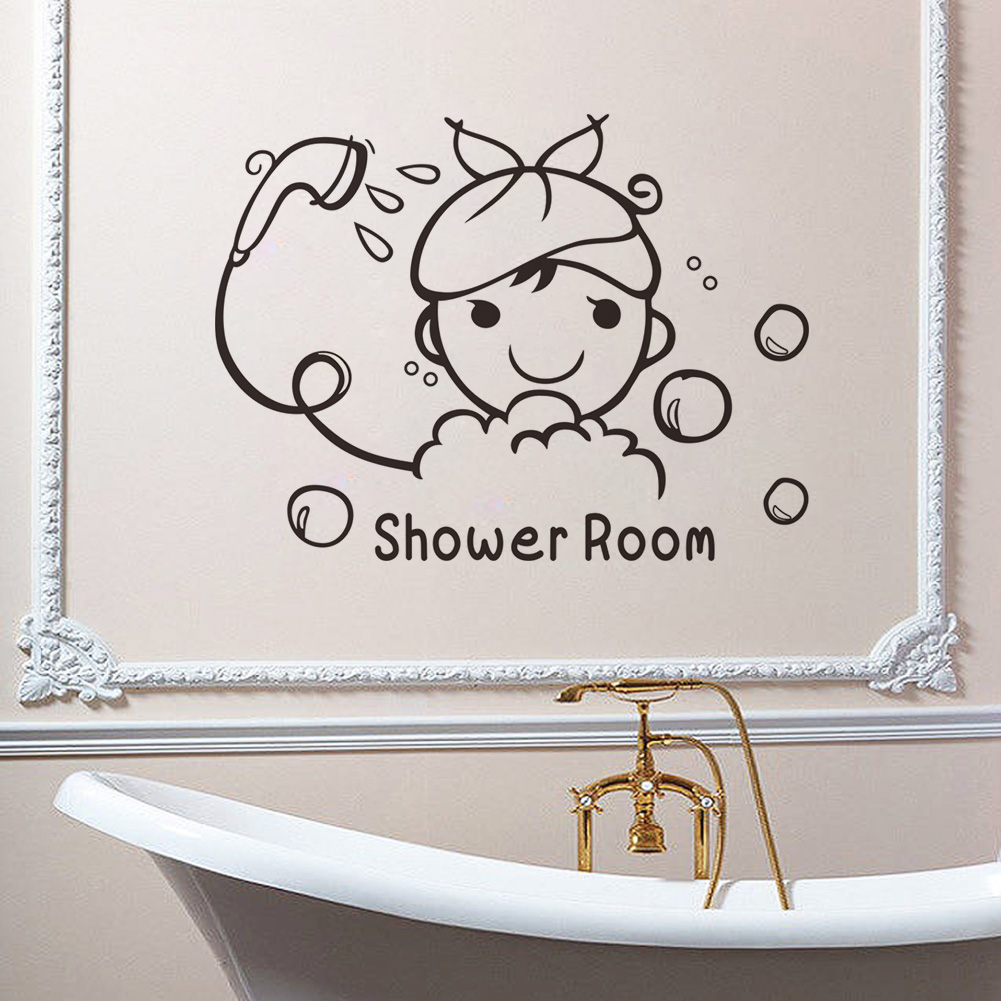 Removable wall decals for bathroom - Shower Room Quote Wall Stickers Bathroom Glass Door Stickers Cute Children Shower Waterproof Removable Home Decals Wall Art