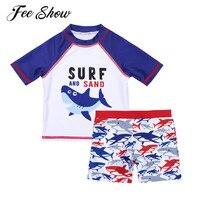 9 Months-7Y لطيف طفل رضيع ملابس 2 قطع نمط القرش السباحة المايوه tankini الاطفال مجموعة نصف الأكمام الأولاد ملابس