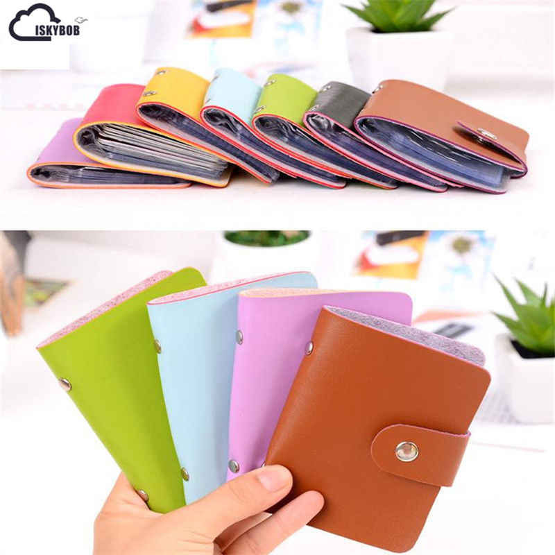 24 Cards Fashion New Women Men Credit Card Holder PU Leather Hasp Unisex ID Holders Package Organizer Manager Free Shipping
