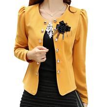 5 x (women summer style clothing outerwear slim women coat jacket feminine women blazer yellow 3XL