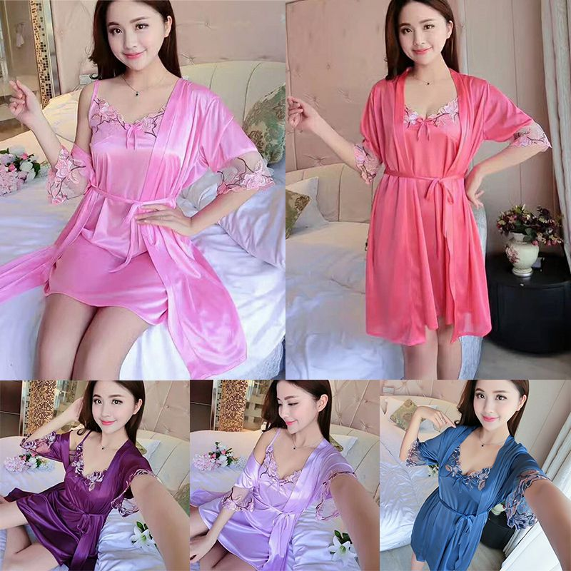 2019 Women Sexy Soild Color Thin One Size Satin Luxurious Lightweight Long Sleeve With Belt Lace Sexy Home Night Dress Set!