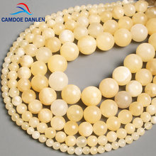 Camdoe danlen pedra natural miçangas amarelas topazes jades redondos soltos miçangas 4/6/8/10/12mm fit jóias artesanais da moda