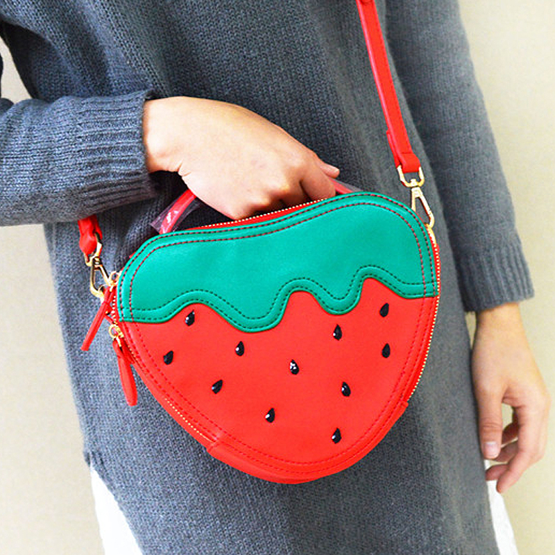 2016 new arrival sweet cute strawberry heart shape red pu ladies handbag shoulder bag messenger bag free shipping mini flap цена 2017