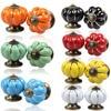 2Pcs Vintage Pumpkin Ceramic Door Knobs Cabinet Drawer Cupboard Kitchen Pull Handle 7 Colors Alloy for Wardrobe Dresser ALI88