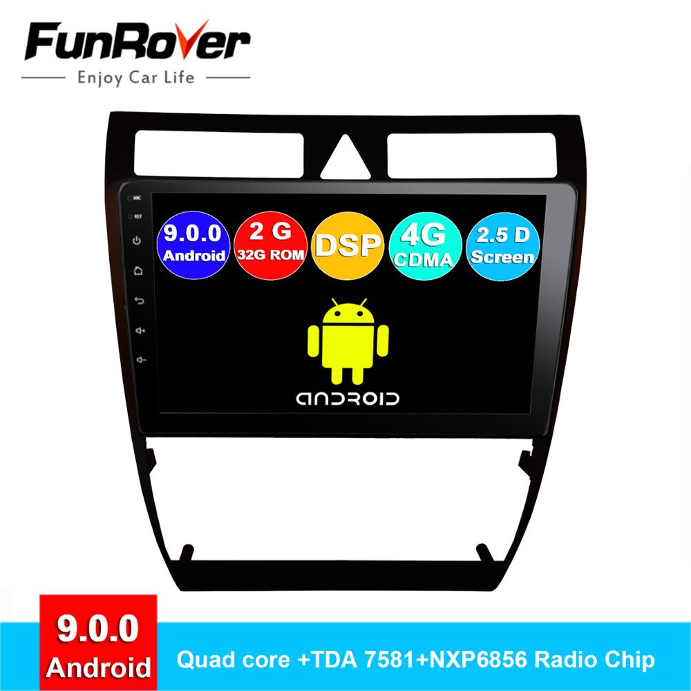 Funrover Android 9.0 2 din car dvd For Audi A6 S6 RS6 Allroad radio gps navigation navi multimedia stereo player autoradio DSP