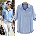Donna XL-XXXXXL Plus Size 5XL Women Clothing Women Long Sleeve Denim Shirt Blouse Autumn Casual Shirts Cotton Jeans Shirt CS188Z
