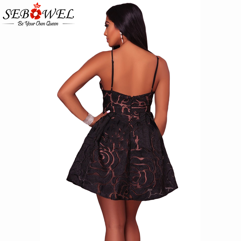61d24723d7ac SEBOWEL 2018 Sexy Black Rose Lace Illusion Party Skater Dress Women  Spaghetti Strap Club Short Dress Femme A Line Dress Vestidos-in Dresses  from Women's ...